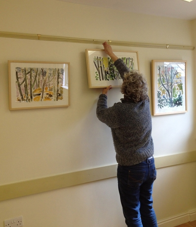 Hanging the exhibition at Horticap near Harrogate, April 2013