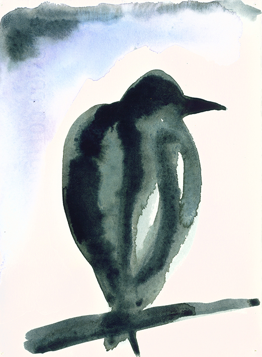start watercolour of a crow in a tree, painted in paynes grey, indigo, ultramarine and cerulean blue