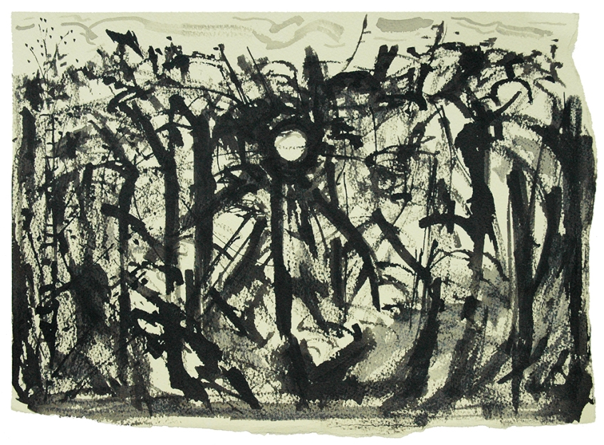 Sun Behind The Woods, ink drawing by Jo Dunn, 2014