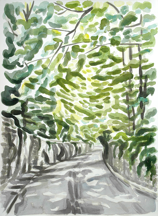 Gledhow Wood Road IV, watercolour painting by Jo Dunn, 2013