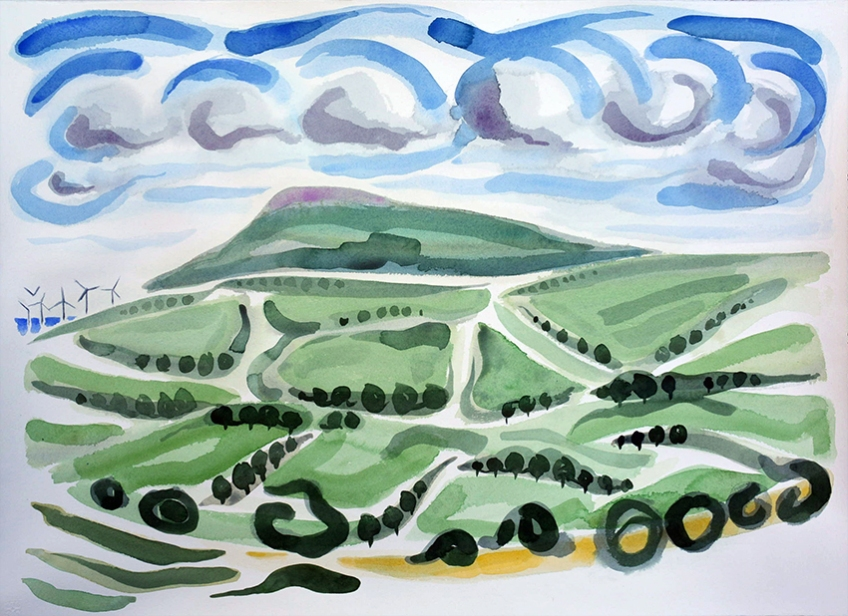 View From Birkrigg Common I, painting by Jo Dunn, 2016