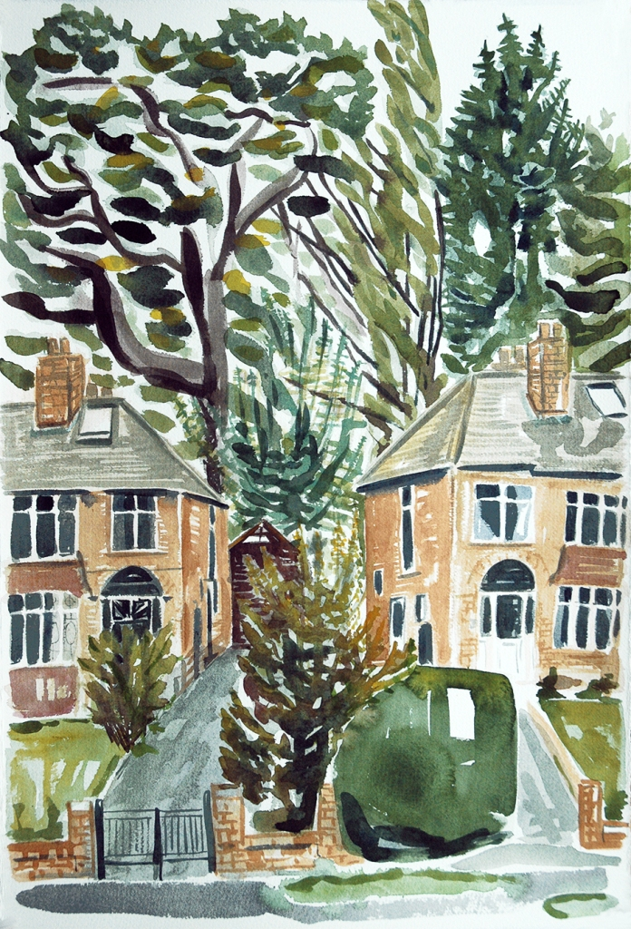 British Suburban Houses, watercolour painting by Jo Dunn, 2013