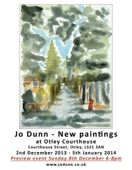 Jo Dunn - flyer for Otley exhibition of new paintings at Otley Courthouse, Courthouse Street, December 2nd 2013 to January 5th 2014. The image shows a suburban street in Leeds 8