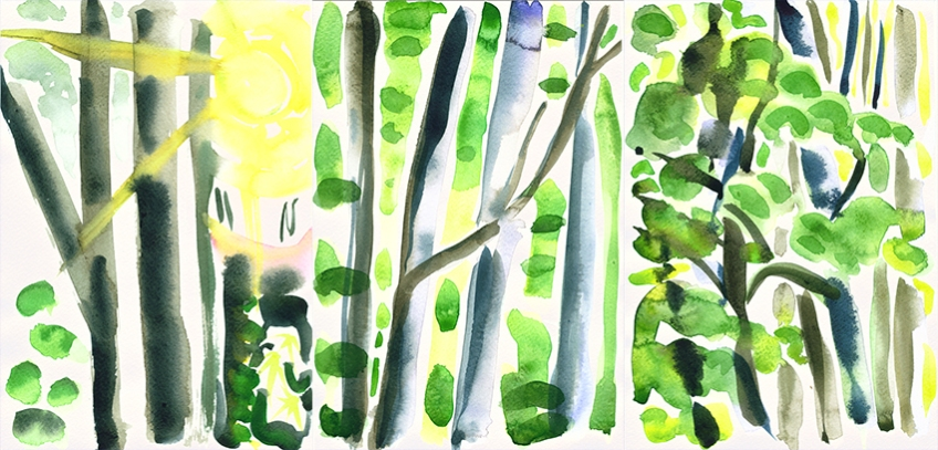 October Woods (Tryptych) - watercolour painting by Jo Dunn, 2011