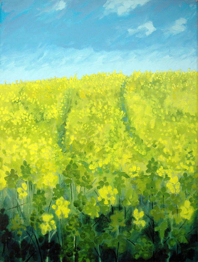 Field near Hetchell Woods, oil painting by Jo Dunn, 2011