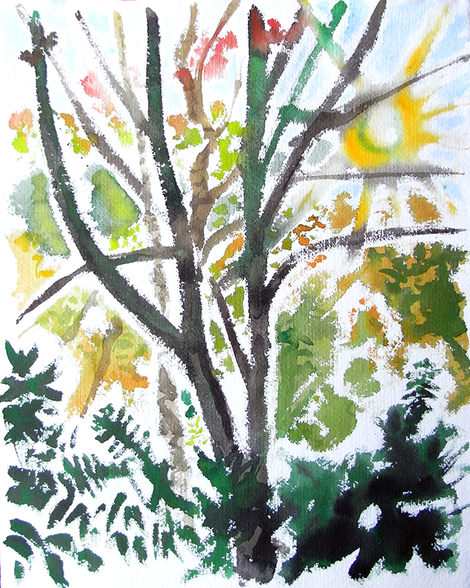October Woods, watercolour painting by Jo Dunn, 2011