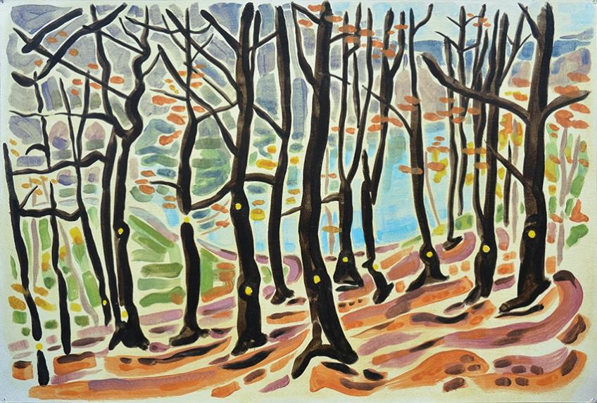 Thirteen Spots, oil on paper, Jo Dunn, 2014