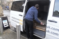 Pete from framers 'Pictures Plus' unloading in Otley