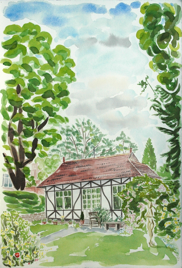 Watercolour painting of a former tennis pavilion now used as a summerhouse in Leeds 8. This paiting was a commission from the owners. But I would have painted it anyway.