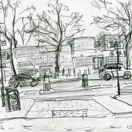 Roundhay Road, Oakwood - pencil drawing by Jo Dunn, 2017