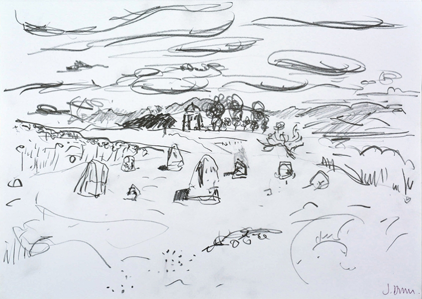 Druid's Circle, Birkrigg Common, pencil drawing by Jo Dunn, 2016