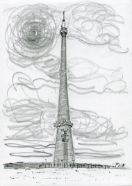 Emley Moor Transmitter - pencil drawing by Jo Dunn, 2017