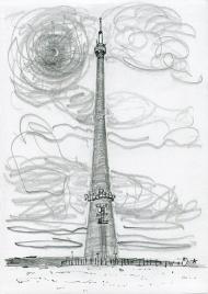 Emley Moor Transmitter - pencil drawing by Jo Dunn, 2017