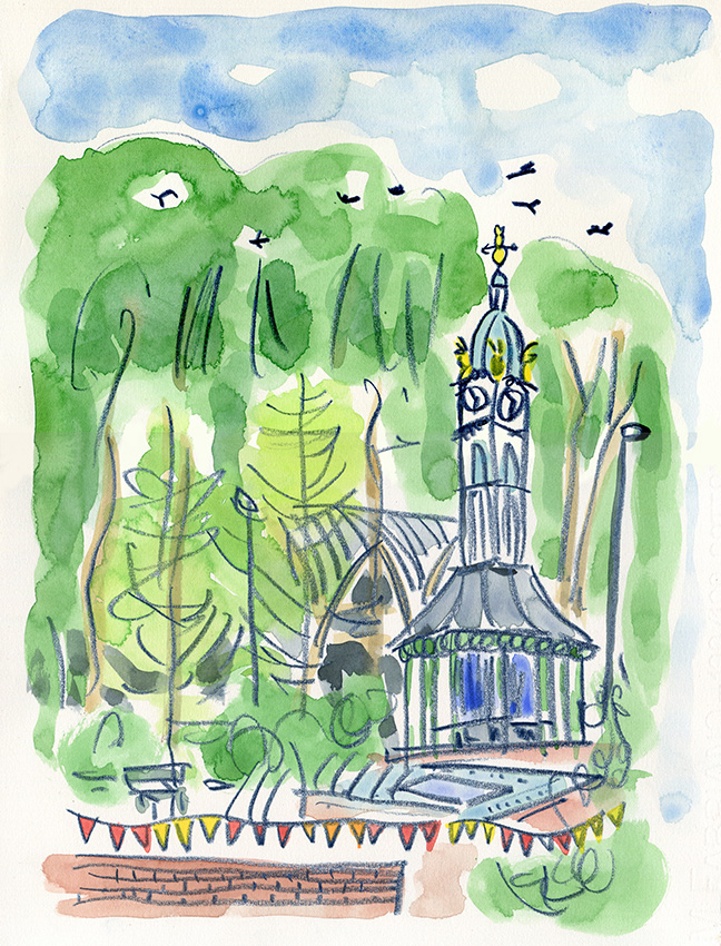 Oakwood Clock, crayon and watercolour, by Jo Dunn, 2016