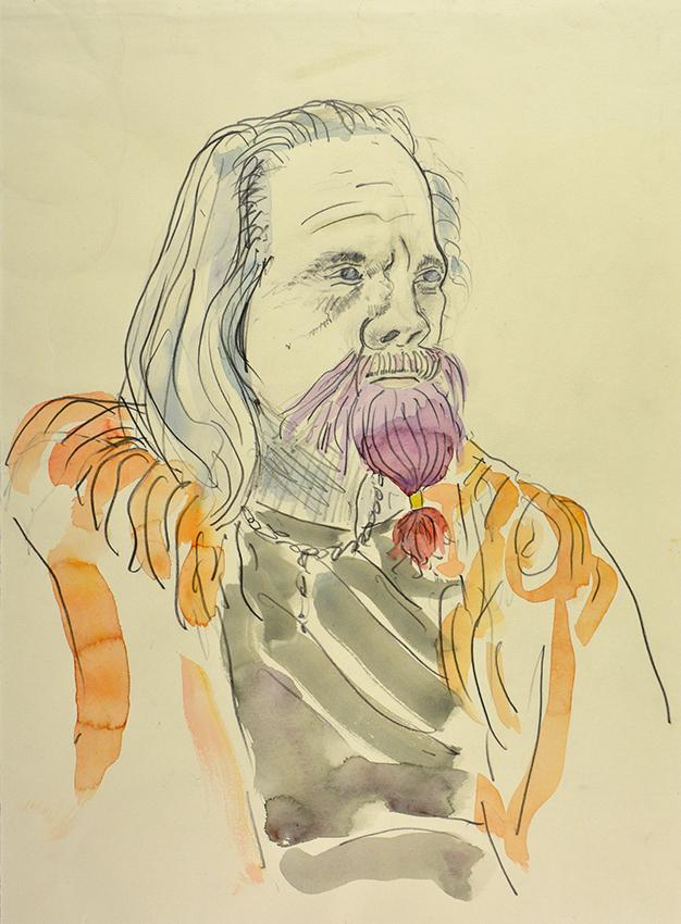 Pet Redbeard - pencil and watercolour drawing by Jo Dunn, 2017