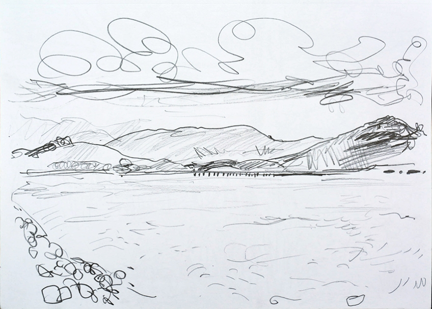 Leven Viaduct, pencil drawing by Jo Dunn, 2016