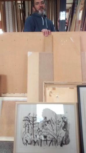 Pete of Pictures Plus framers- at work