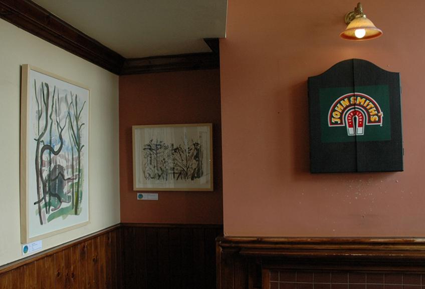 Pics with the dart board, Three Hulats pub