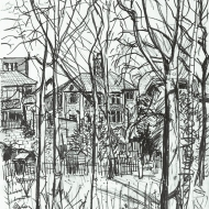 View from the Woods - pencil drawing by Jo Dunn, 2016