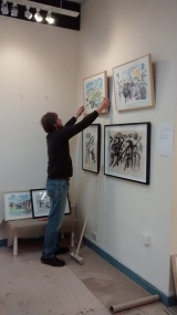 David hanging the pics