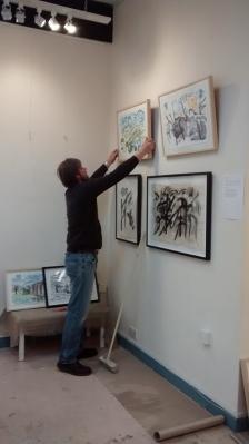 David hanging the pics