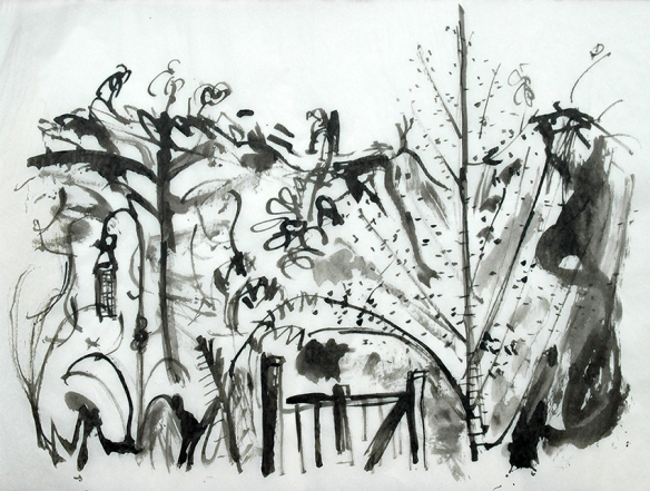 11th August, drawn with sticks and Chinese ink
