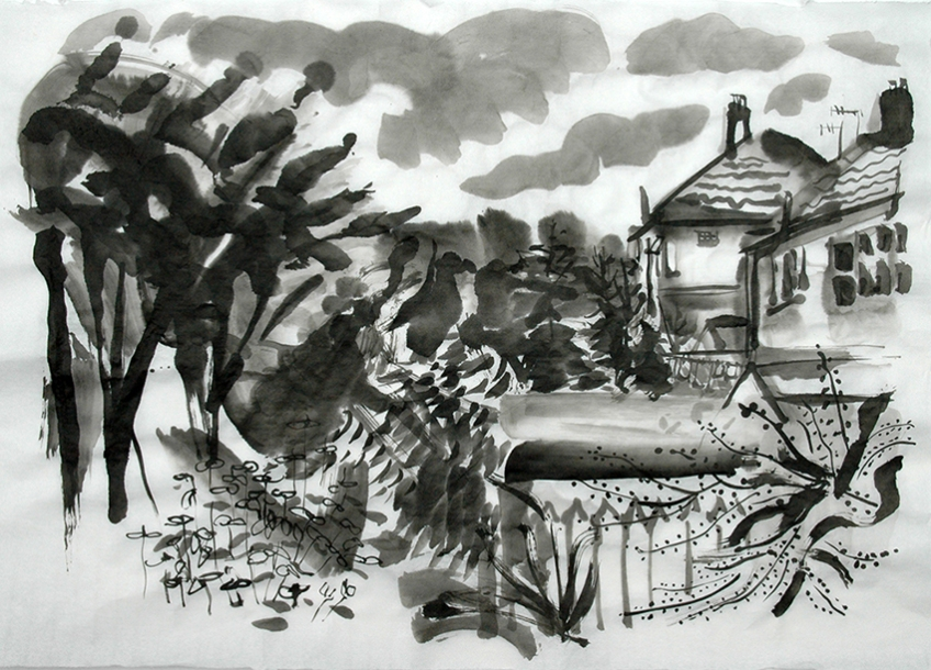 Back o' the houses, 13th Aug, ink painting