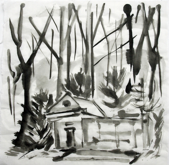 ink painting of Gipton Spa in Gledhow Valley Woods, Leeds