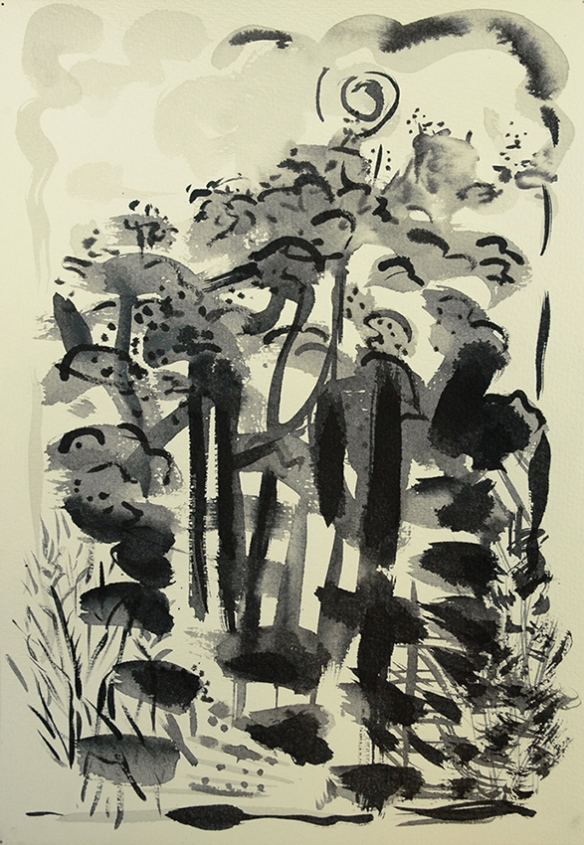 Black July Woods, ink painting