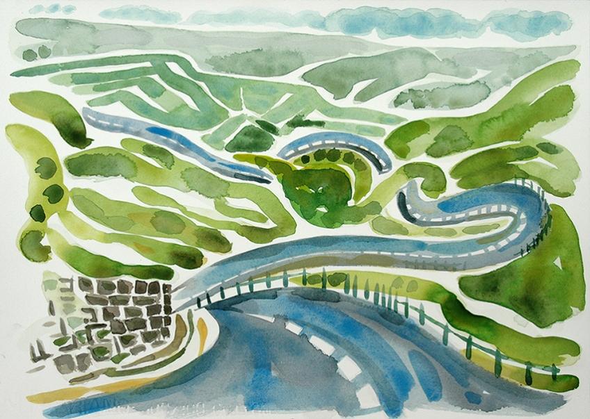 Buttertubs Pass, watercolour