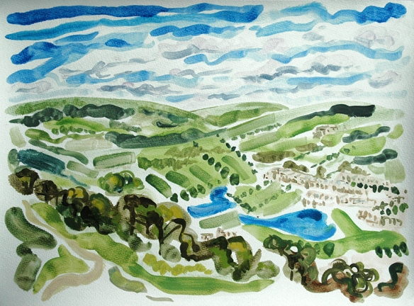 Oil painting on paper of the view from the Chevin, a hill overlooking Otley in Wharfedale, West Yorkshire. Keep going in the direction of the horizon and you get to the Yorkshire Dales.
