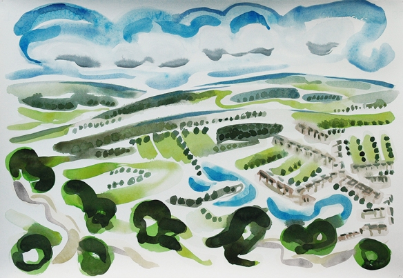 View from the Chevin III, watercolour. View of Otley from the Chevin - the hill that hangs over the town on the south side. This one actually shows the houses - as well as trees and moors.