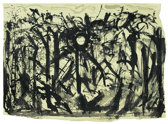 Drawn with sticks and ink, the sun behind the trees
