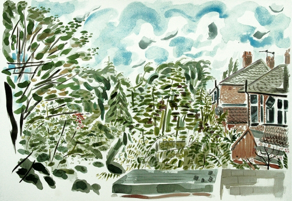 Watercolour painting of suburban houses backing onto Gledhow Valley Woods in Leeds 8