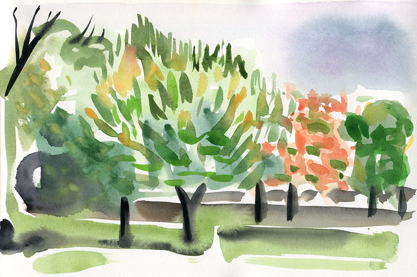 Deconstructing Autumn I - watercolour painting