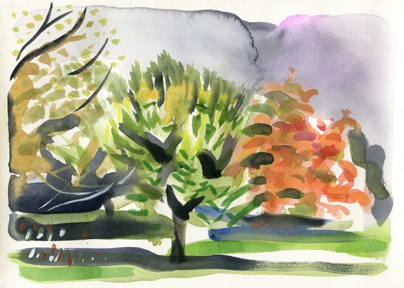 Deconstructing Autumn II - watercolour painting