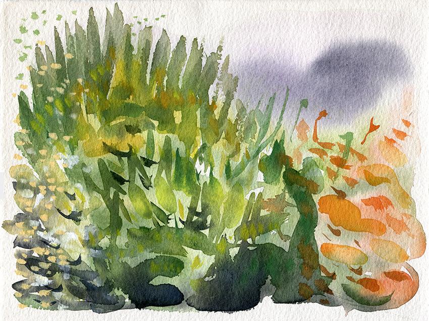 Deconstructing Autumn III - watercolour painting