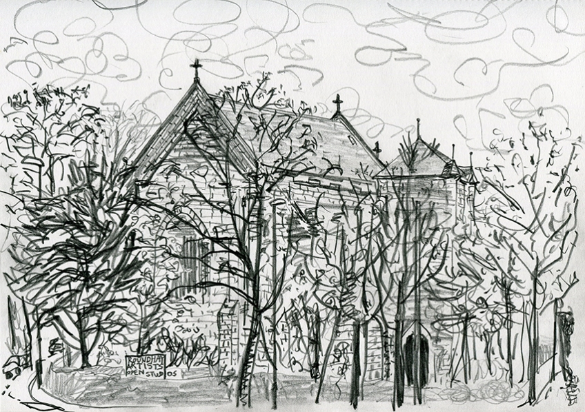 St Edmund's Church, Roundhay, LS8 - pencil drawing by Jo Dunn, 2017