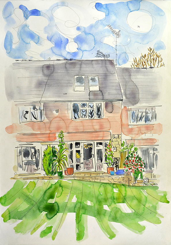 House Portrait #35 - pencil and watercolour drawing by Jo Dunn, 2017
