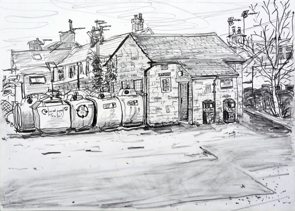 Public toilets, Bramhope - pencil drawing by Jo Dunn 2017