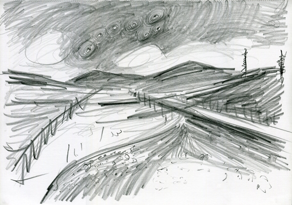 A82 14mls N Tyndrum, pencil drawing