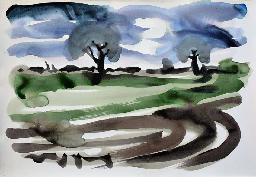The bleak mid-winter, a watercolour painting by Jo Dunn