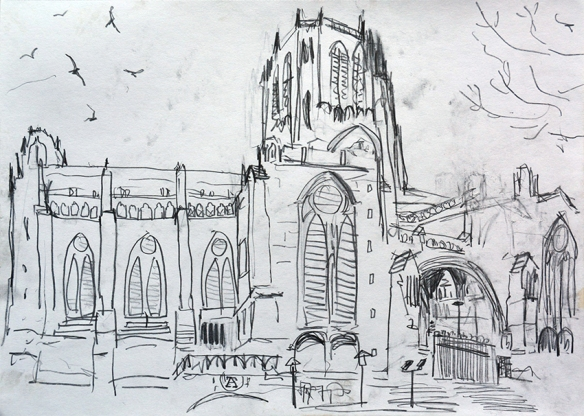 Liverpool Cathedral pencil drawing by Jo Dunn 2017
