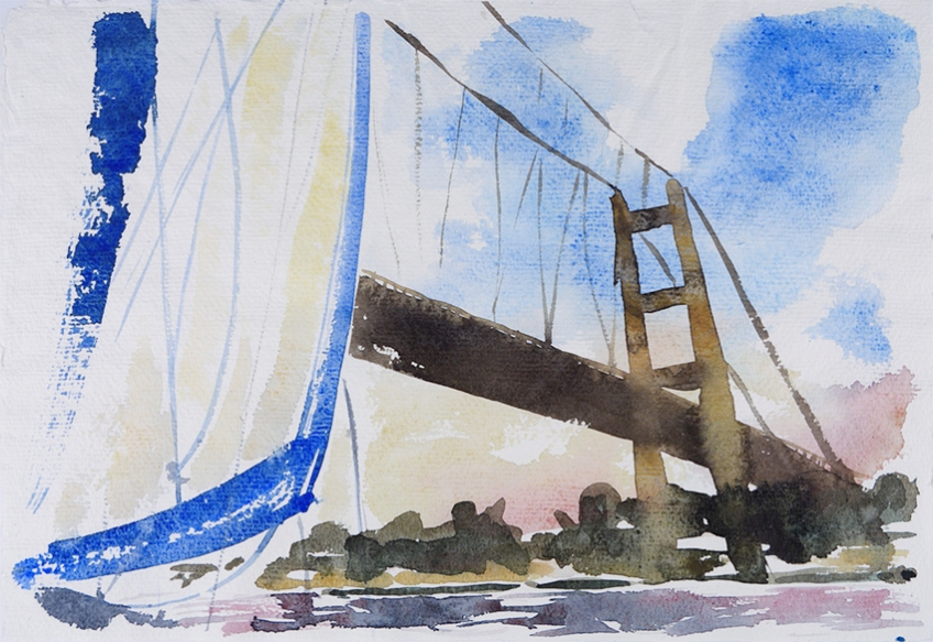 Sailing Under the Humber Bridge I - painting by Jo Dunn, 2018