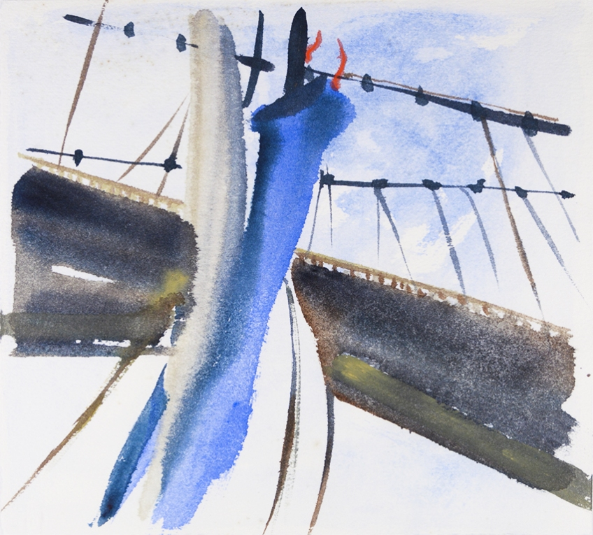 Sailing Under the Humber Bridge IV - painting by Jo Dunn, 2018