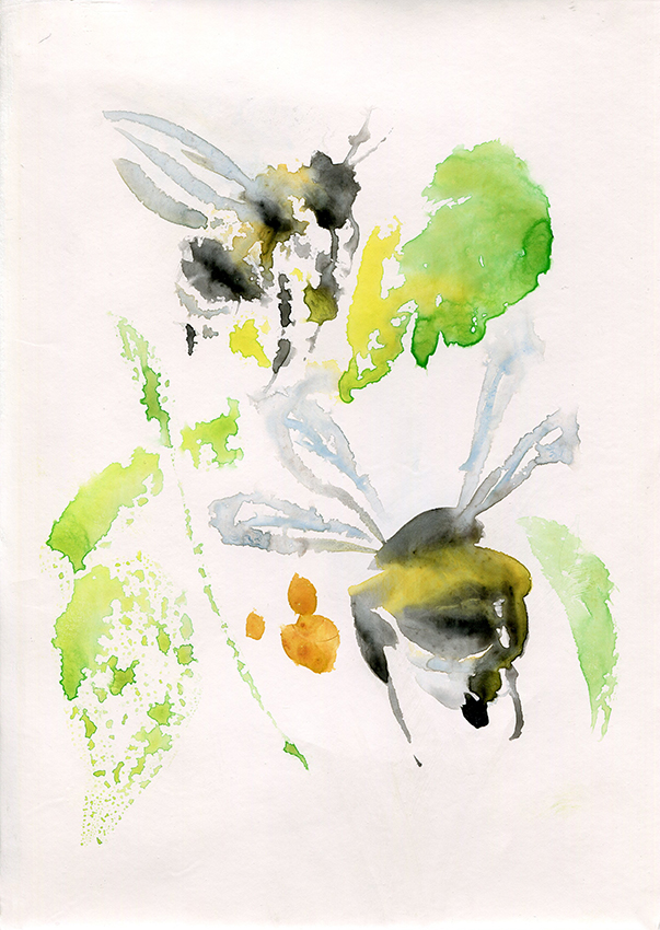 Bees V - painting by Jo Dunn