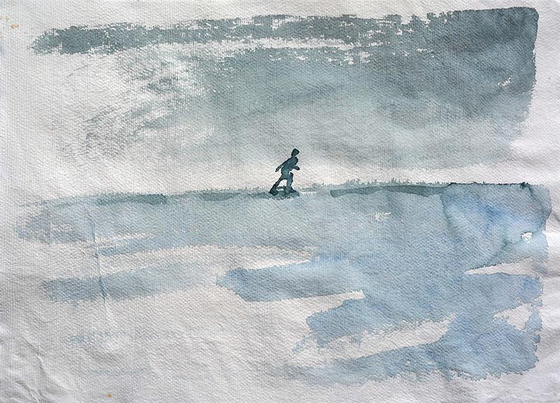 Walking, Alone - watercolour painting by Jo Dunn 2018