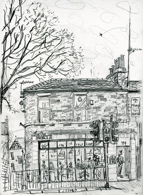 Further North, Chapel Allerton - pencil drawing by Jo Dunn, 2019