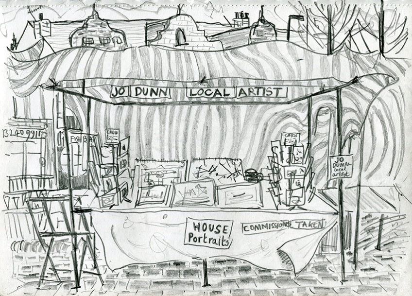 Jo Dunn Local Artist, Stall, pencil drawing