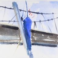 Sailing Under the Humber Bridge III - painting by Jo Dunn